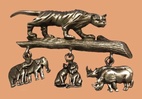 Jungle animals brooch with charms - tiger, rhino, elephant, lion