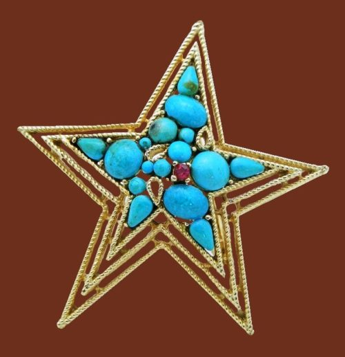 Large star brooch. Turquoise glass cabochons, pink rhinestones, jewelry alloy