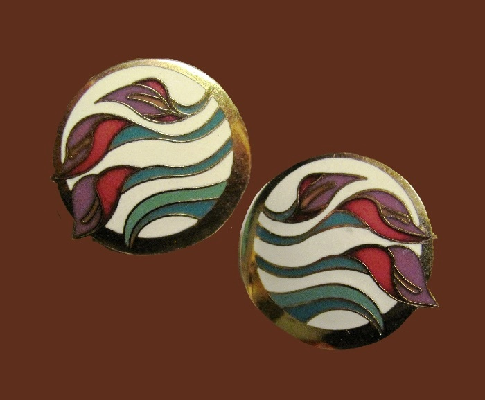 'Lillies for Les' signed enameled earrings, floral motoif, gold tone