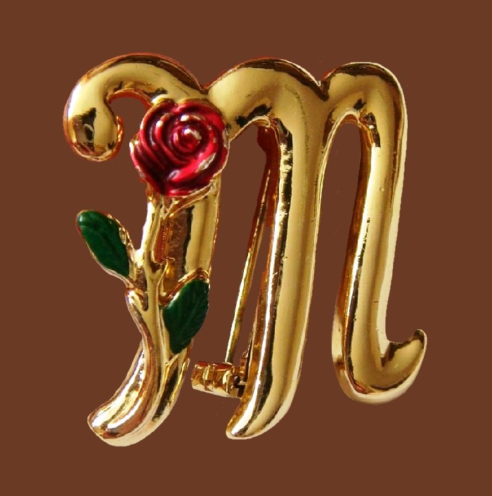 """M"" initial brooch, or Scorpio zodiac sign. Jewelry allo, gold plated, enamel. 3 cm, 1960s'"