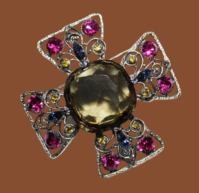 Maltese cross style brooch