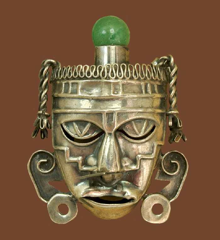 Mask vintage silver brooch with jade stone. 5 cm