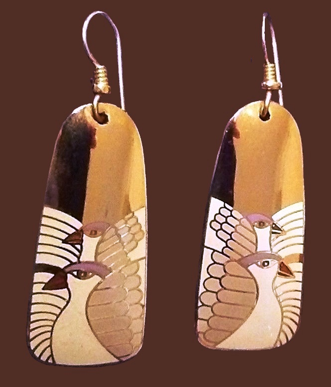 Moondove enameled dangle earrings of gold tone