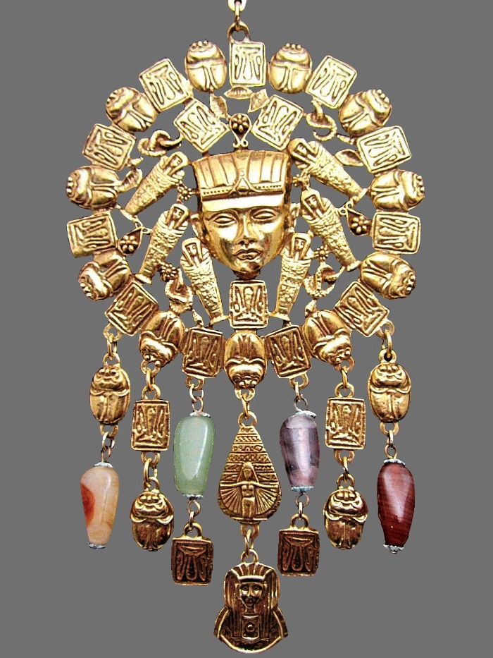 Nefertiti Scarab Stone Necklace Egyptian style