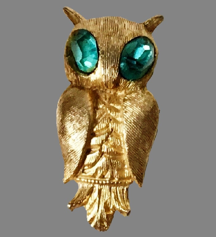 Owl brooch. 1962. Gold tone, blue crystals