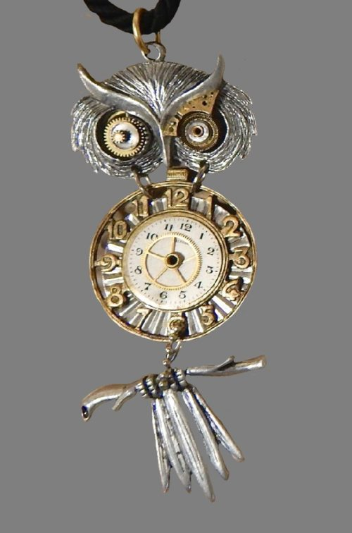 Owl pendant made of watch parts, blackened silver tone antique pewter