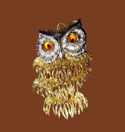 Owl pendant. Amber eyes, gold and silver tone metal