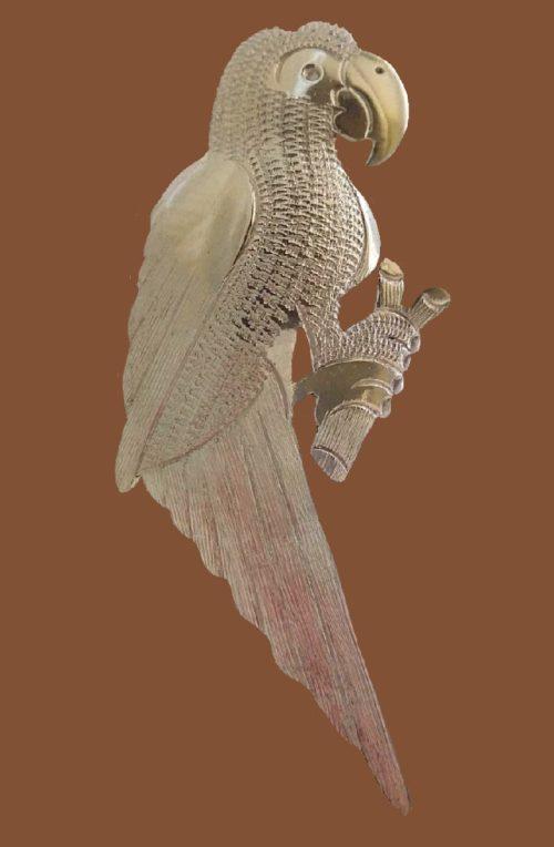 Parrot brooch. Silver. 5cm