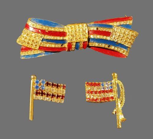 Patriotic US flag earrings and brooch. Enamel, rhinestones, jewelry alloy