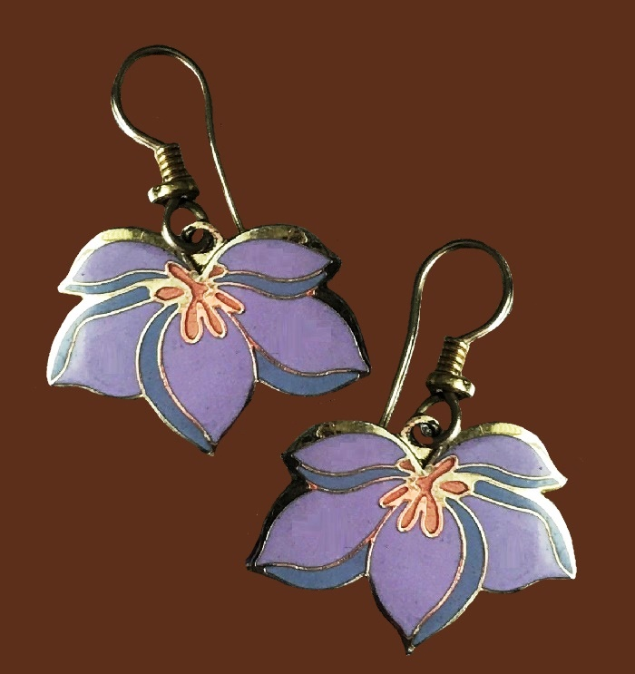 Pear blossom pink enamel gold tone earrings