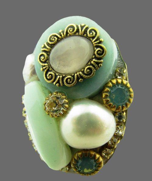 Pearl, crystal and rhinestones adjustable ring