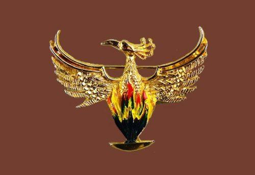 Phoenix bird vintage brooch. Gold plated, crystals, enamel