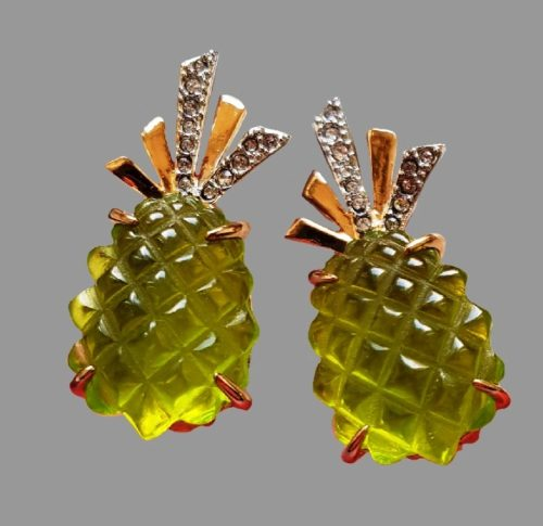 Pine-apple earrings. Lucite, gold plated, crystals