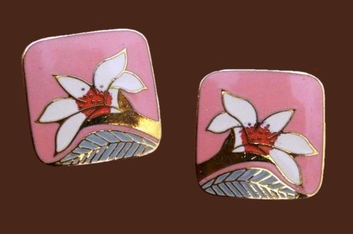Pink and white enamel lily earrings