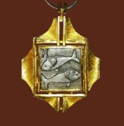 Pisces Zodiac Sign. Silver and gold tone metal