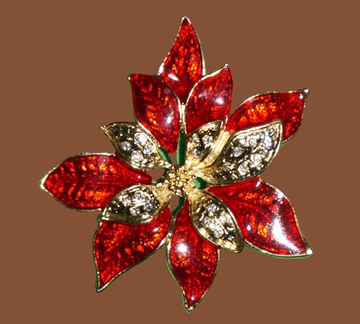 Poinsettia vintage brooch. Jewelry alloy, enamel, rhinestones