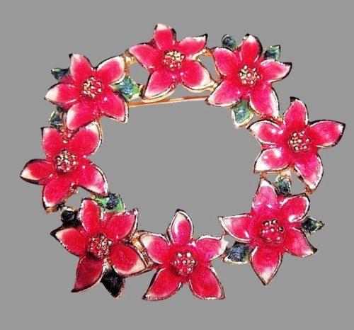 Pointsettia flower Christmas wreath enameled brooch