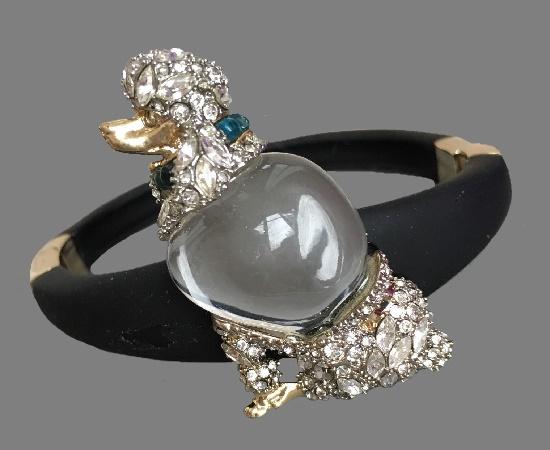 Poodle bracelet, vintage 1980s. Lucite, crystals