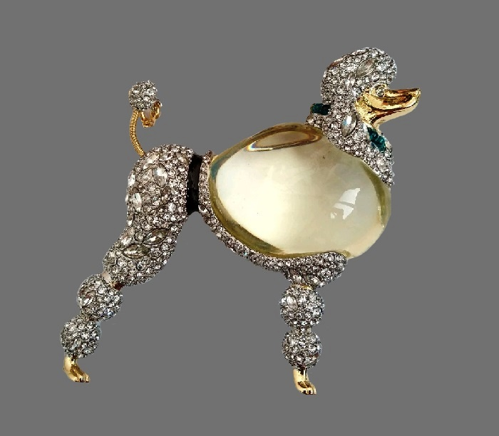 Poodle brooch. Jewelry alloy, lucite, crystals