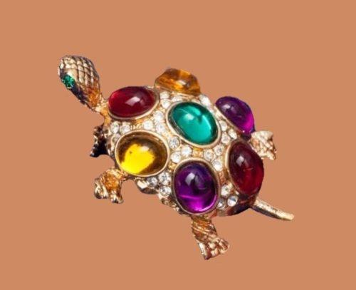 Precious Turtle vintage brooch. 1980s. Jewelry alloy, crystals, cabochons
