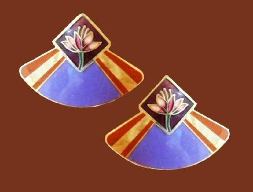 Purple enamel, gold tone abstract design stud earrings