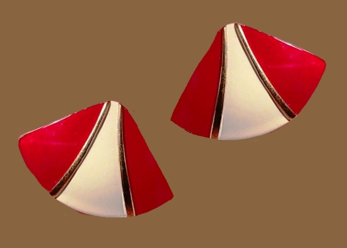 Red and white enamel triangle earrings