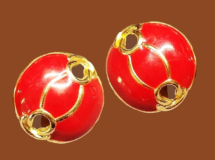 Red enamel gold tone earrings