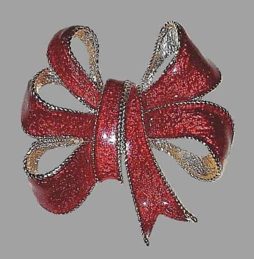 Red enameled rhinestone bow brooch
