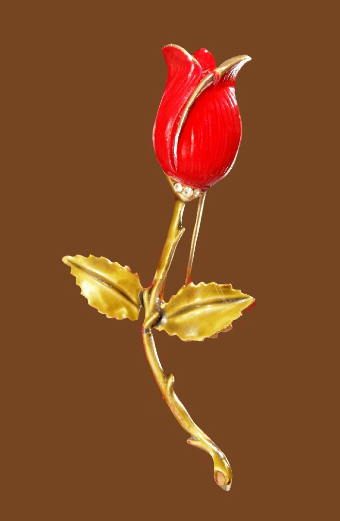 Red tulip enameled brooch