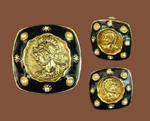 Roman Soldier set of brooch and earrings. Gold tone, black enamel, rhinestones