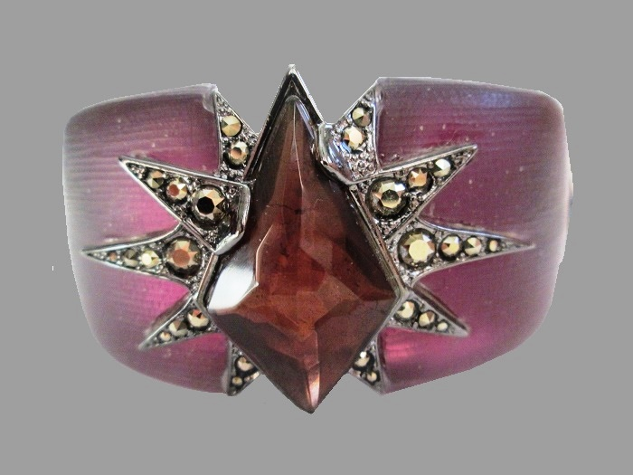 Santa Fe Deco Purple Crystal Starburst Hinged Cuff Bracelet