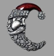 Santa Head Crescent Moon Brooch. Pewter, rhinestones, red enamel