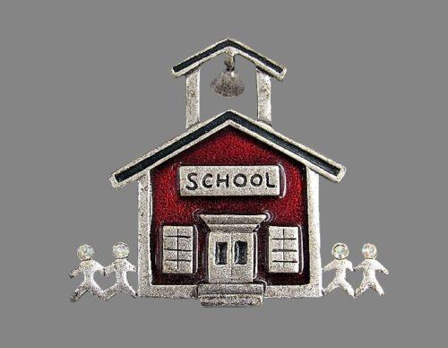 School theme vintage brooch