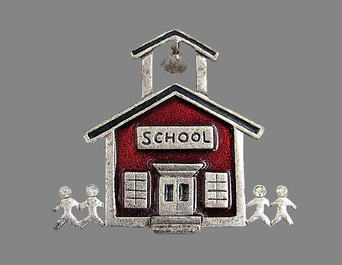 School theme vintage brooch