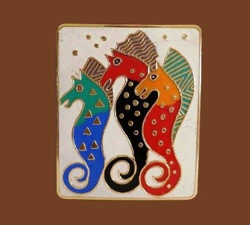 Seahorses pin brooch, blue, orange, red and black enamel