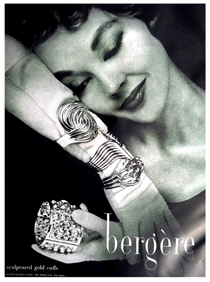 Series of bracelets in vintage poster. 1956