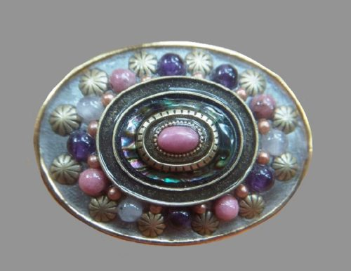Set with rhodonite, faux garnets, rose quartz, moonstone oval brooch