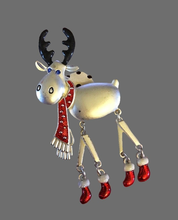 Silver tone Christmas moose in red boots and scarf
