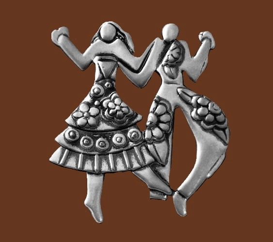 Silver tone 'Folklife' brooch