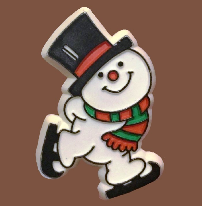 Skating Snowman vintage pin. Jewelry alloy, enamel