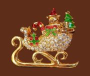 Sleigh brooch, Christmas theme. Jewelry alloy, rhinestones