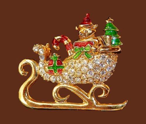 Sleigh brooch, Christmas theme. Jewelry alloy, rhinestones