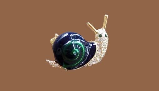 Snail brooch. Enamel, jewelry alloy, rhinestones