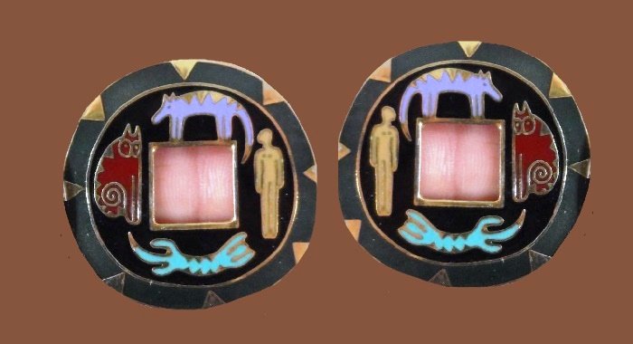 'Southwestern' amulet stud earrings. Enamel, gold tone