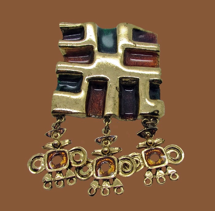 Square dangle modernist brooch of gold tone. Green and bown enamel