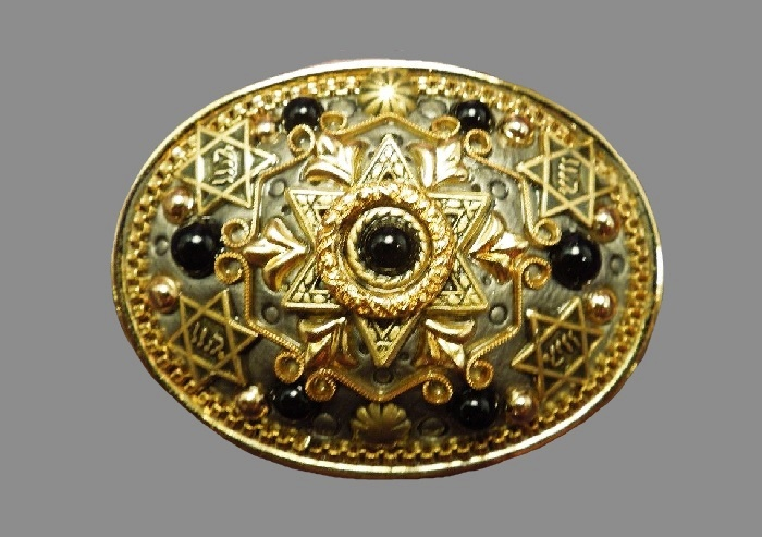 Star of David brooch. Gold plated metal, cabochons