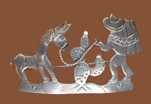 Sterling silver vintage brooch 'Stubborn Donkey'. 1940s