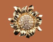 Sunflower brooch. Jewelry alloy, Swarovski crystals. 4 cm