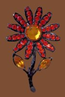 Sunflower brooch. Yellow glass cabochons, jewelry alloy