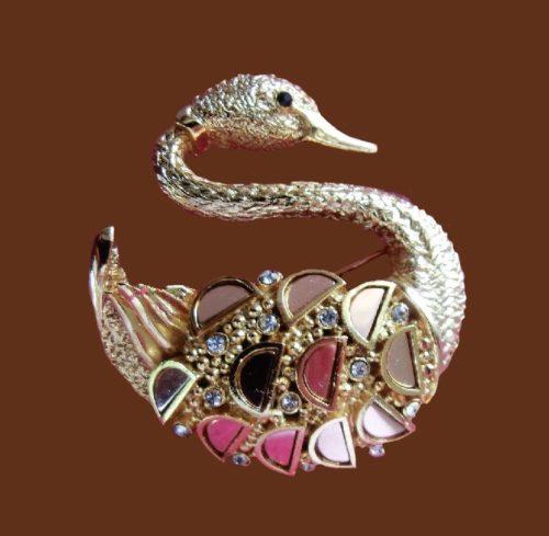 Swan brooch. Silver tone jewelry alloy, rhinestones, enamel, crystals